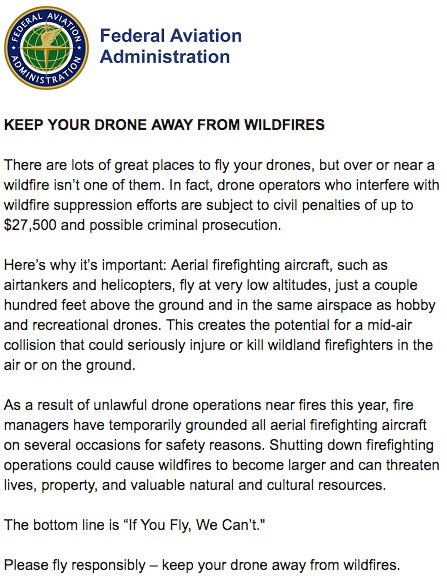 FAA email drone warning