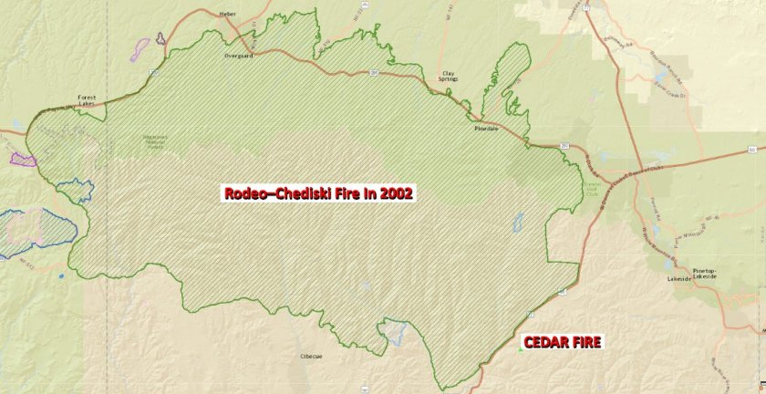 Map Rodeo-Chediski Fire of 2002
