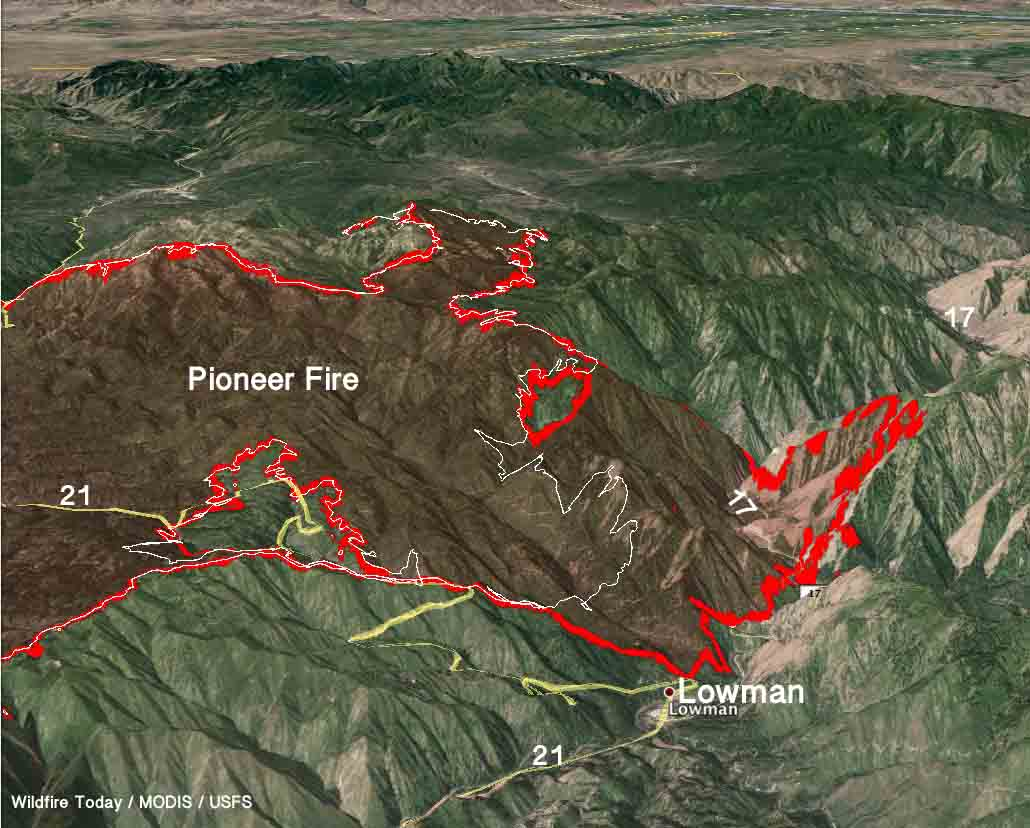 Pioneer Mountains Idaho Map.Pioneer Fire Spreads North Across Highway 21 Near Lowman Idaho
