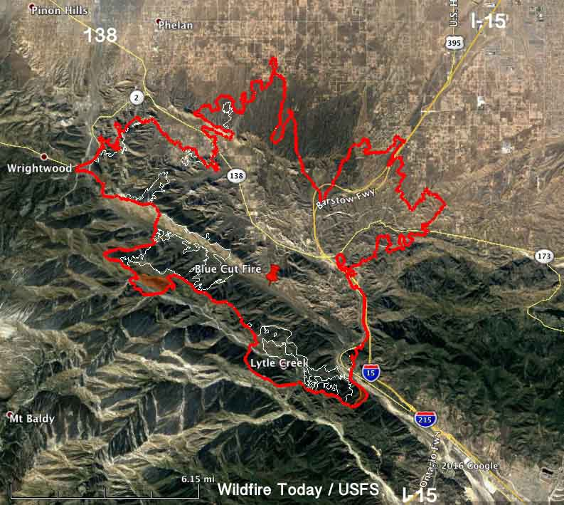 Cajon Pass Fire Map.Damage Assessment Teams Report 96 Homes Destroyed In The Blue Cut