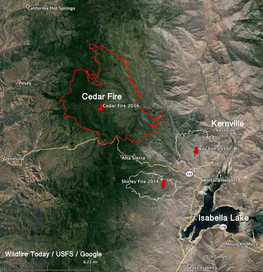 Lake Isabella Fire Map.Cedar Fire Causes Evacuations West Of Kernville California