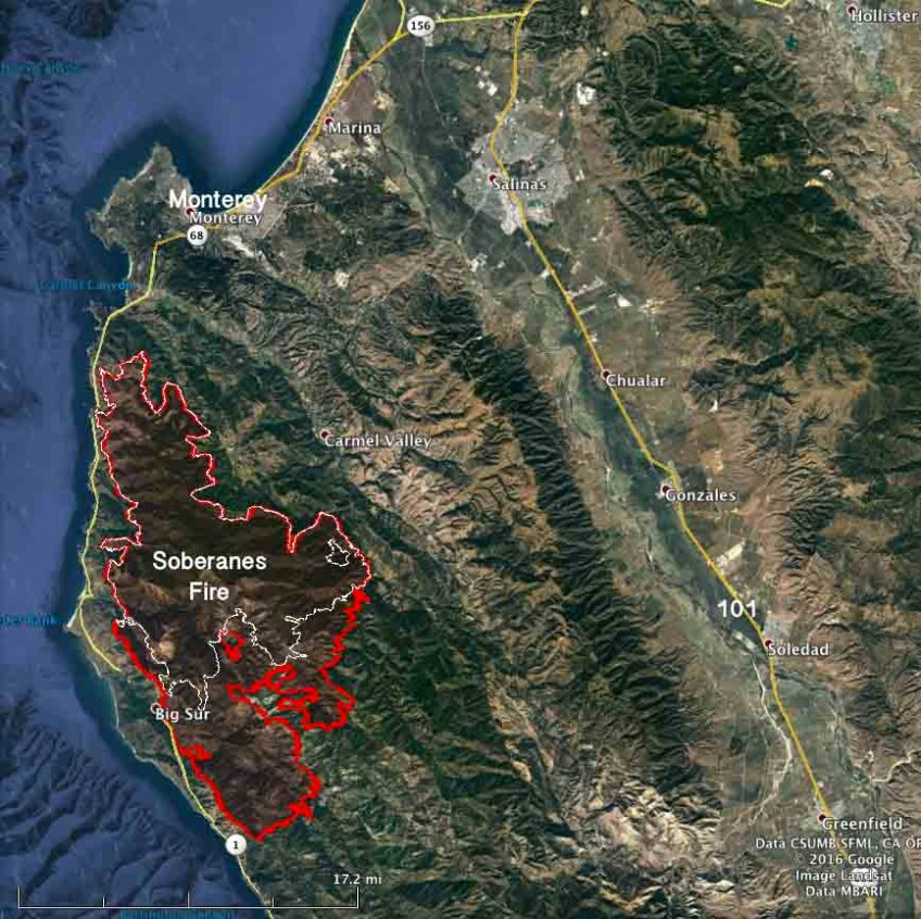Map Soberanes Fire 11 Pm Pdt Aug 25 Wildfire Today
