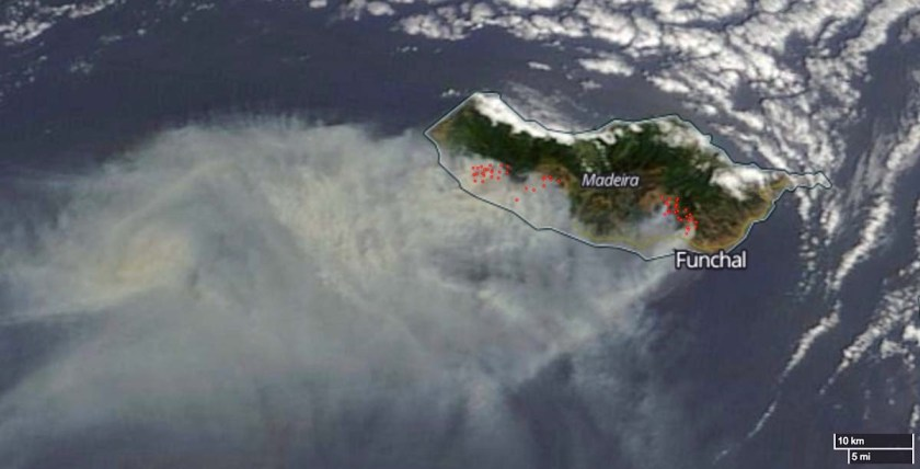 Map of fires on Madeira