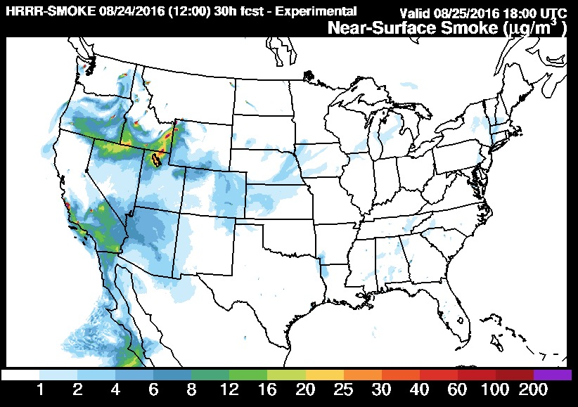 Wildfire smoke map