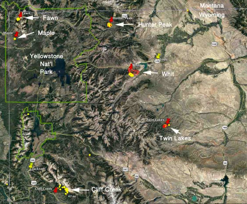 map wildfires Wyoming