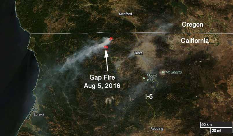map Gap Fire California