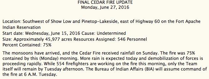 cedar fire update
