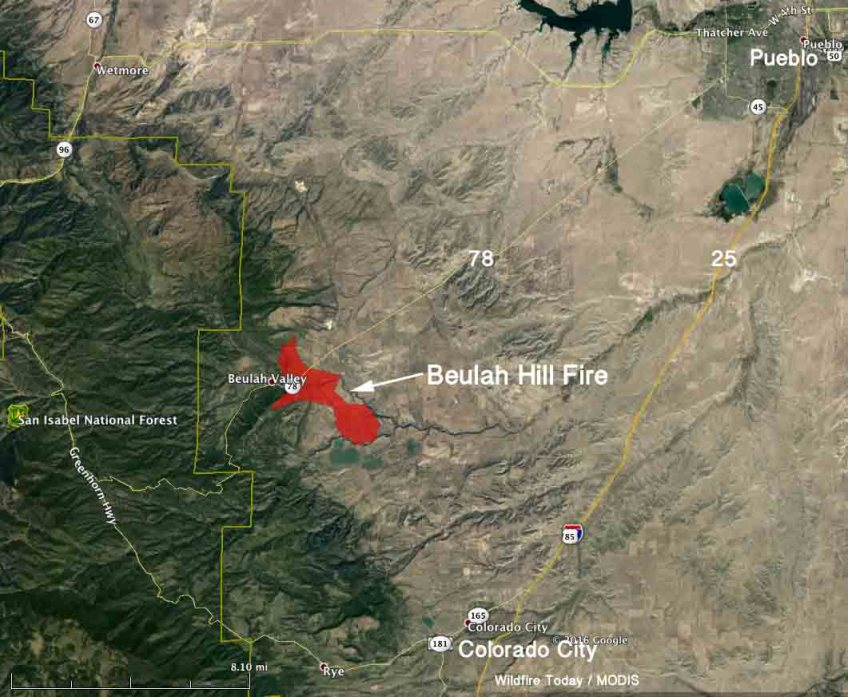 Map Beulah Hill Fire 304 Am Mdt Oct 4 2016 Wildfire Today