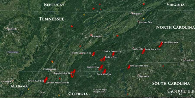 Information and maps of five wildfires in Georgia and North Carolina     fire maps Georgia  North Carolina  South Carolina  Tennessee