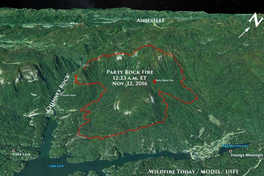 Map showing the approximate perimeter of the Party Rock Fire at 12:25 a.m. ET November 12, 2016.