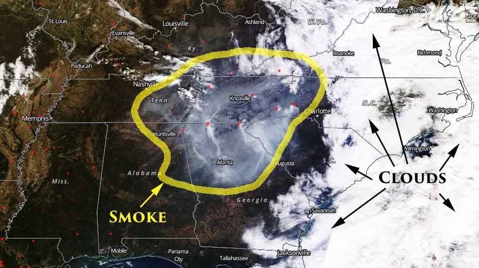 Wildfire smoke causes air quality to worsen in TN, SC, and NC