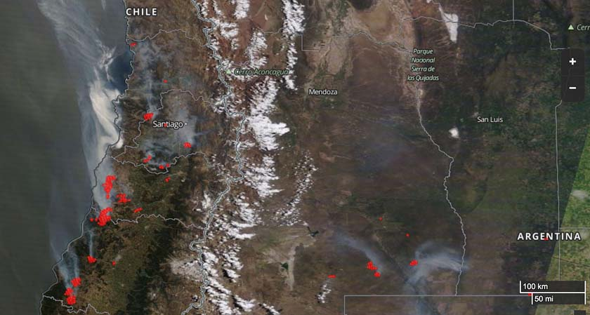Worst wildfires in Chile in a decade