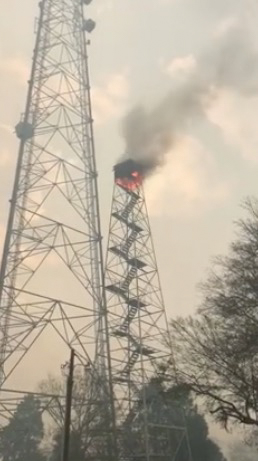 fire tower Polk County Florida burning