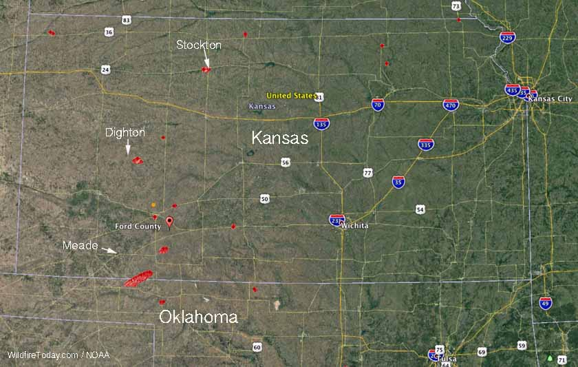 Cold front drives numerous large wildfires in Kansas