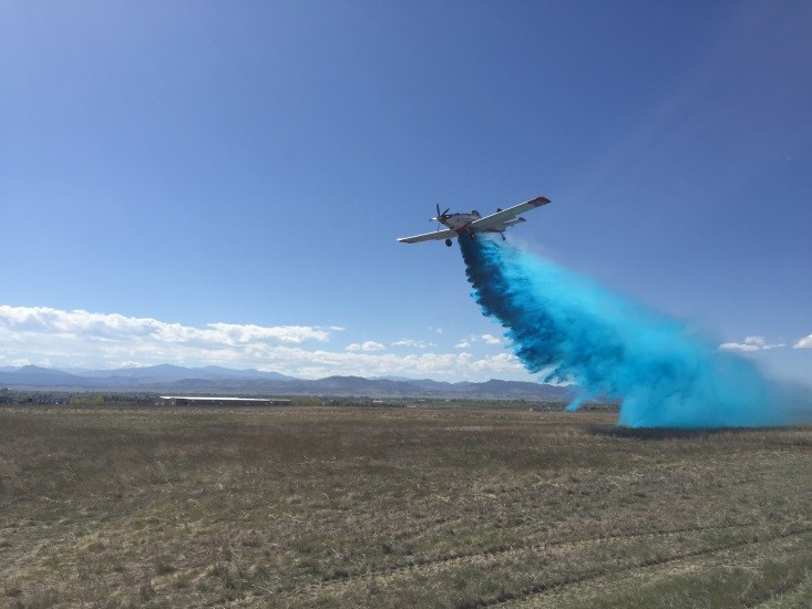 State-contracted SEAT T-831 drops brilliant blue FireIce HVO-F®. Courtesy photo.