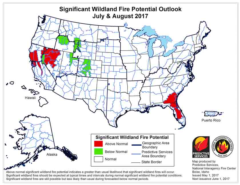 wildfire potential july august 2017