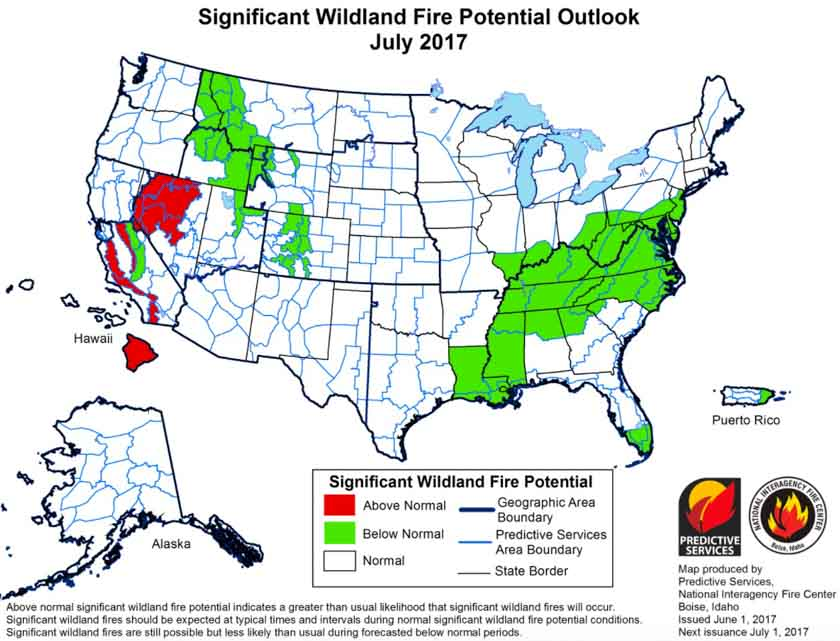 wildfire potential July 2017