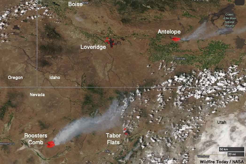 Satellite View Of Four Wildfires In Idaho And Nevada Wildfire Today