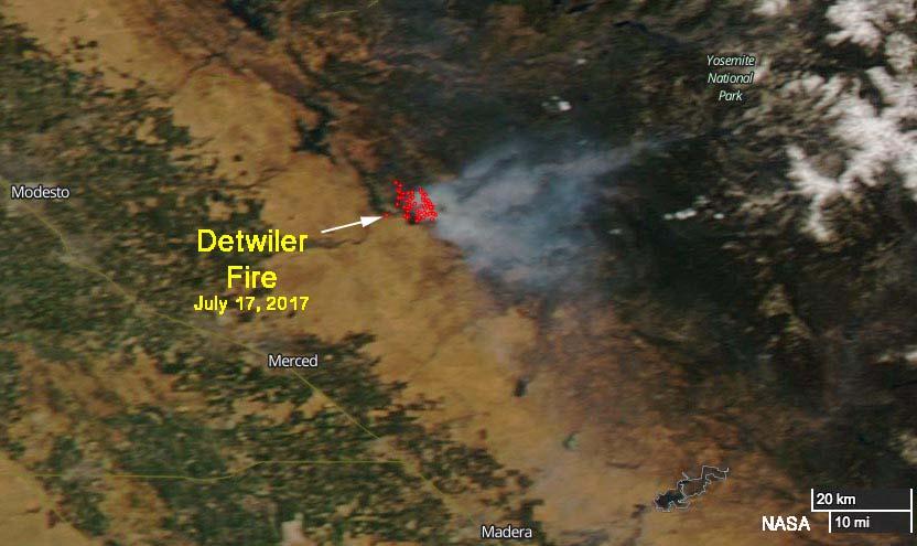 Detwiler Fire satellite photo smoke