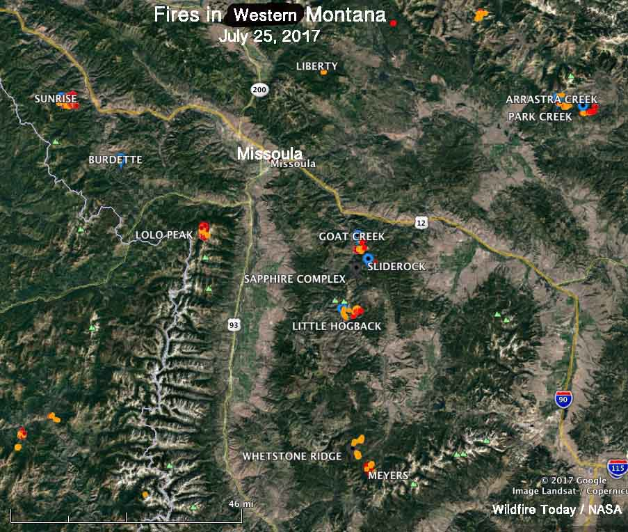 A dozen large wildfires within 70 miles of Missoula - Wildfire Today