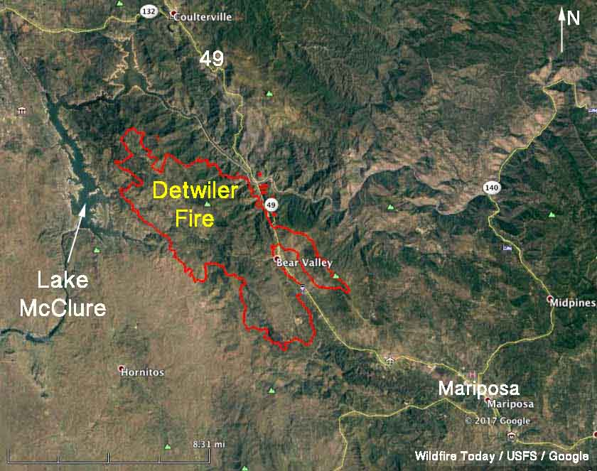 Detwiler Fire Spreads Quickly Causes Evacuation Of Mariposa