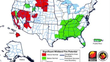 Wildland Fire Potential In The Lower States Wildfire Today - Us wildland fire potential map