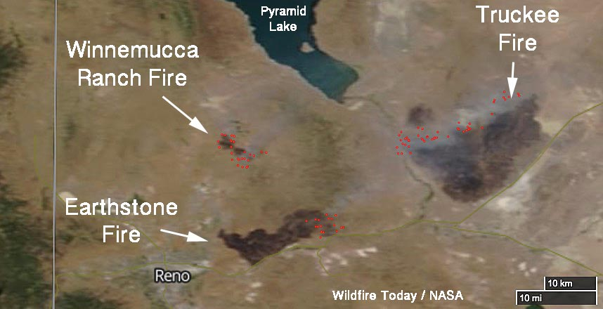 Fires near Reno as seen from space