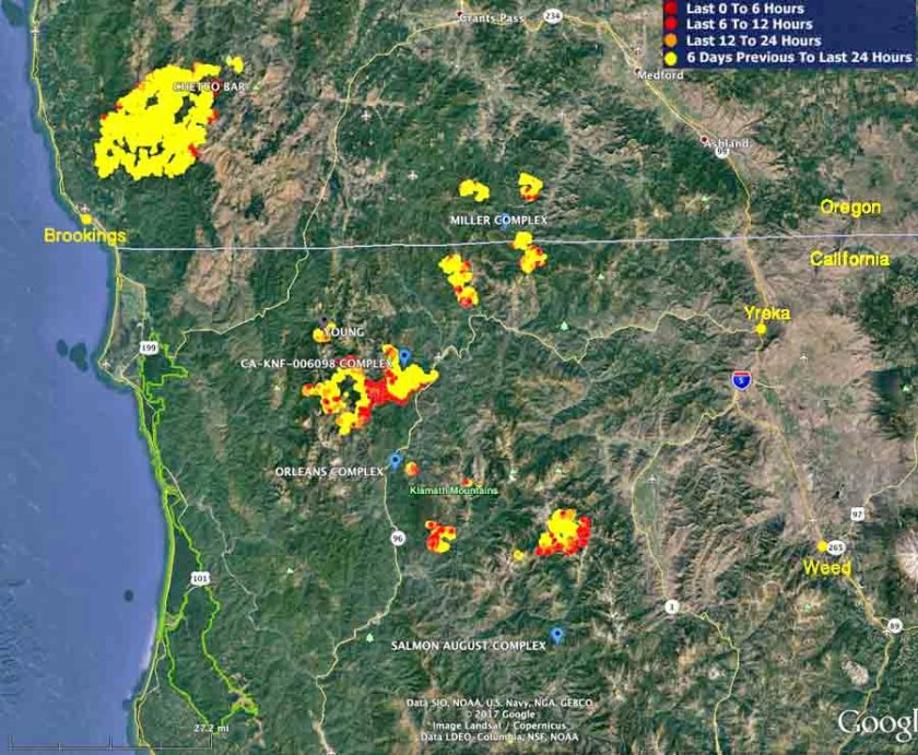 wildfires in southwest Oregon and Northwest California