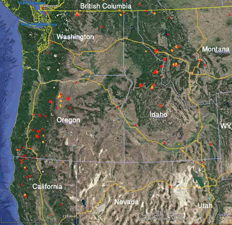 map wildfires