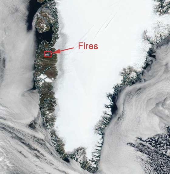 wildfires Greenland map