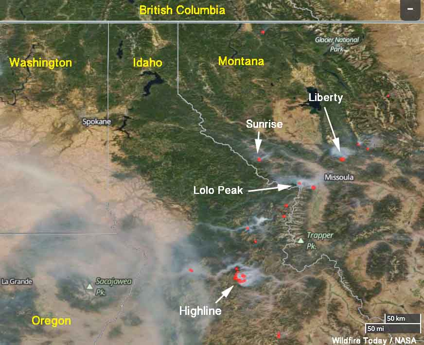Updated satellite photo of wildfires in Western Montana and Northern Idaho