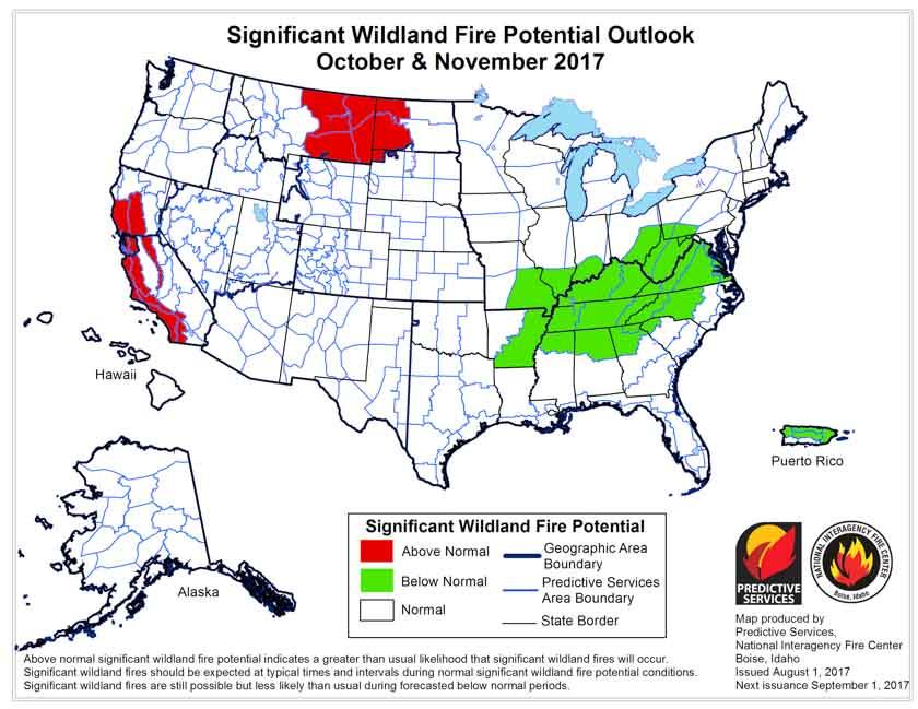 October November wildfire potential