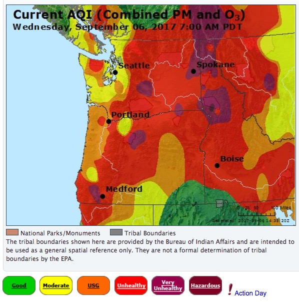 Spokane Wildfire Map.Wildfire Smoke Creates Unhealthy Air In The Northwest U S