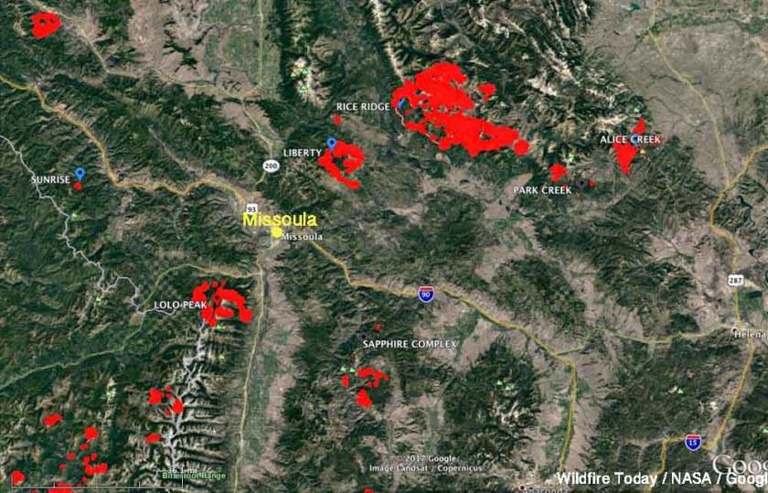 Rice Ridge Fire Montana fire map missoula