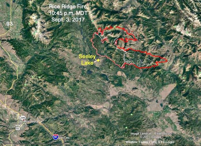Rice Ridge Fire map