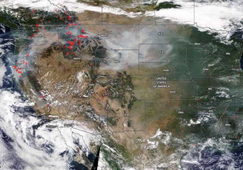 satellite photo smoke fires
