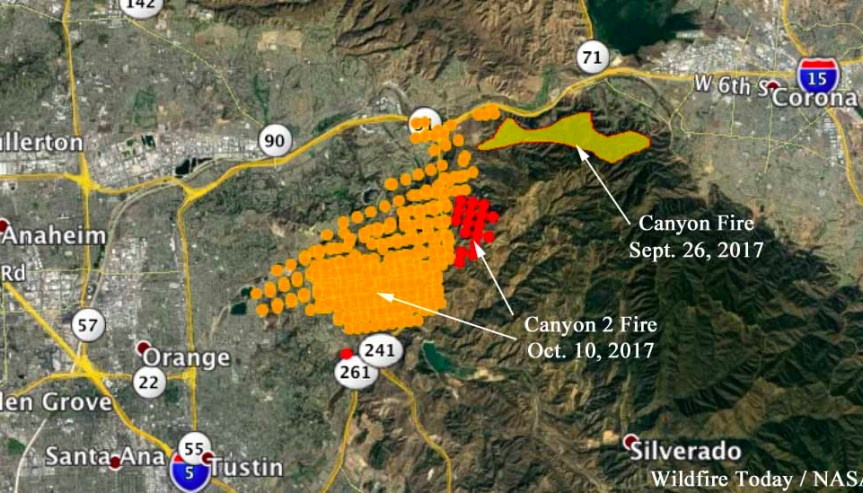 Canyon 2 Fire caused by ember from previous fire - Wildfire ... on map of copperopolis, map of fashion valley, map of thousand palms, map of pope valley, map of staples center, map of east hollywood, map of crystal cathedral, map of los angeles, map of willits, map of venice beach, map of downtown disney district, map of orange, map of alpine meadows, map of boulevard, map of disneyland, map of el toro, map of little saigon, map of lawndale, map of marin city, map of leucadia,