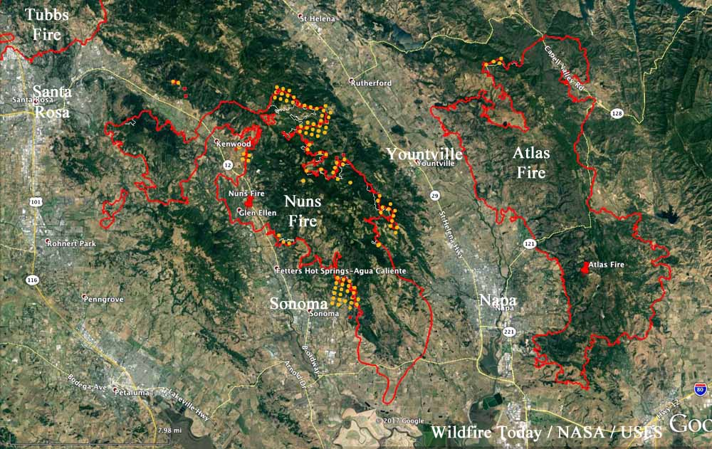 Nuns Fire continues to spread while the Atlas Fire slows