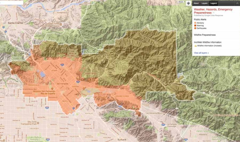Nixle alert map Creek Fire
