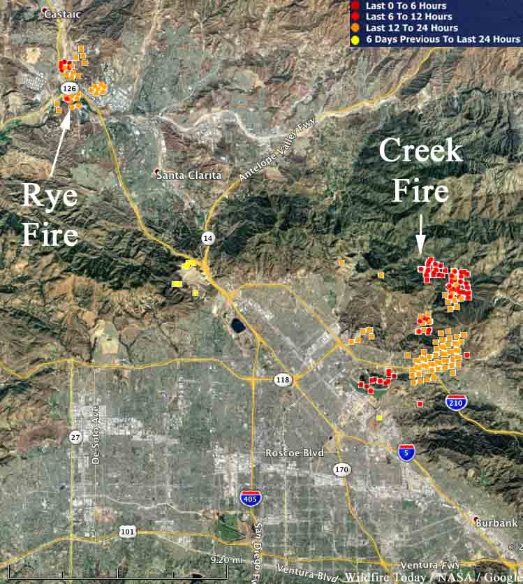 map creek fire rye fire