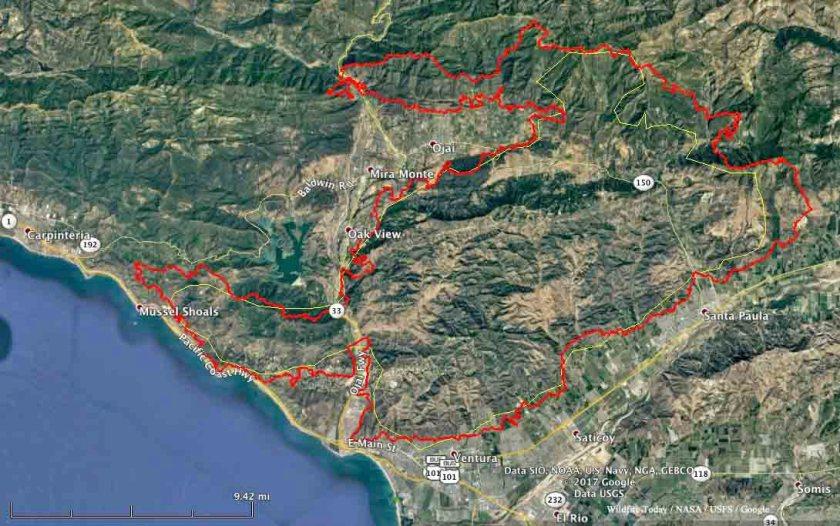 map Thomas fire December 6 2017