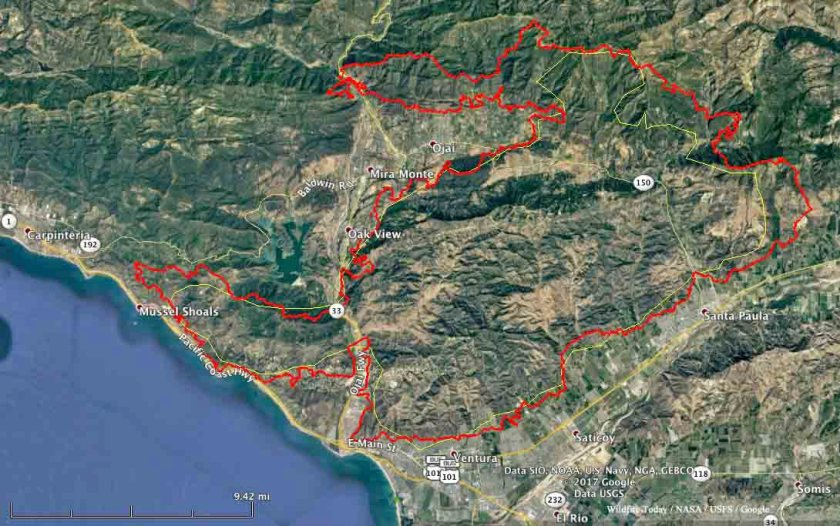 map Thomas fire December 6 2017