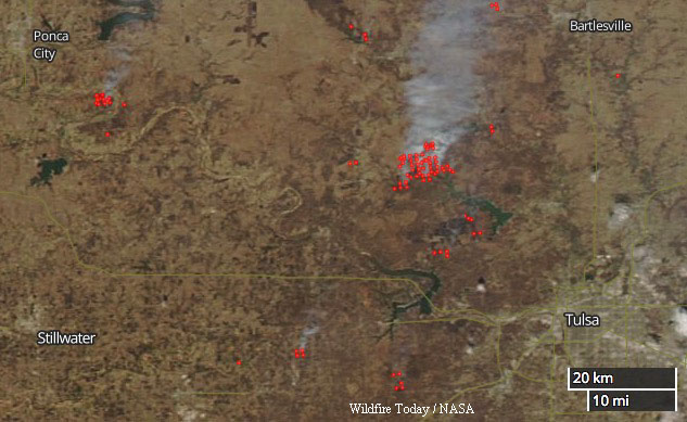Wildfires northwest Tulsa, Oklahoma map