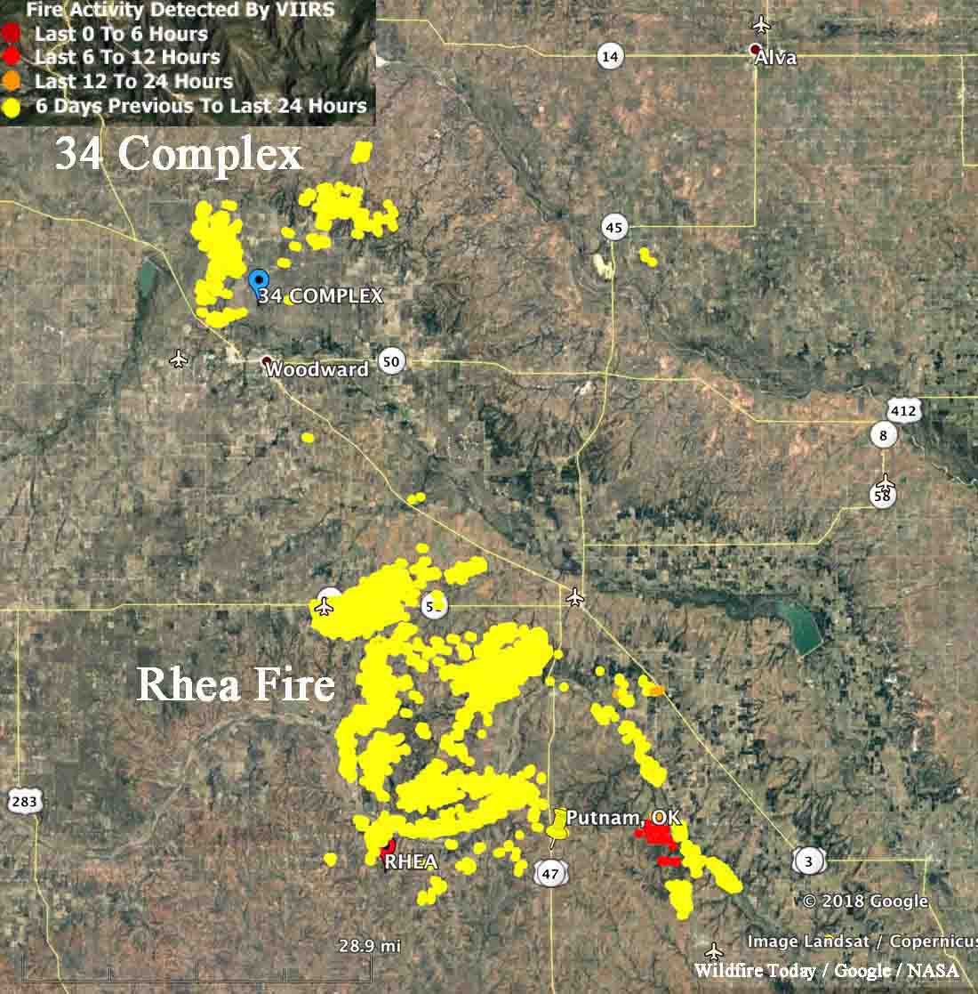 Oklahoma wildfires: 34 Complex slows, Rhea continues to spread ...