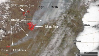 Rhea Fire Map.Oklahoma Wildfires 34 Complex Slows Rhea Continues To Spread