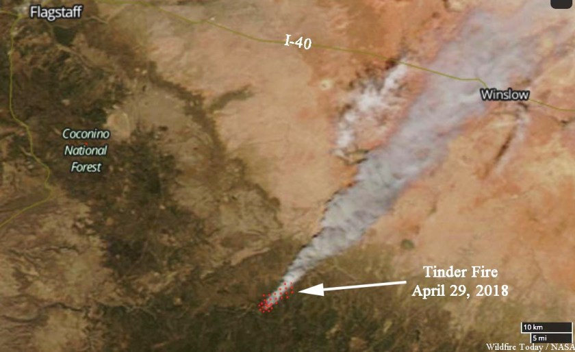 Satellite photo Tinder Fire