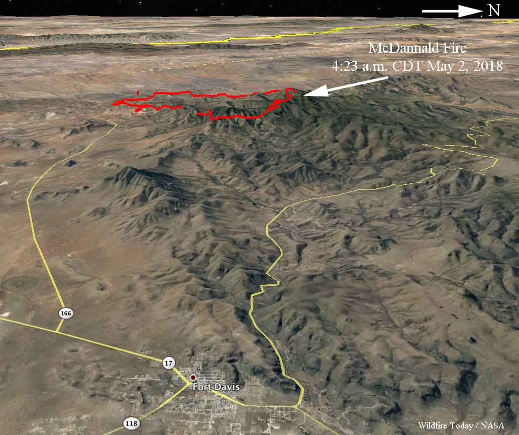 McDannald Fire is very active west of Fort Davis, Texas