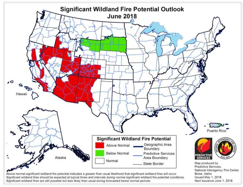 wildfire potential June
