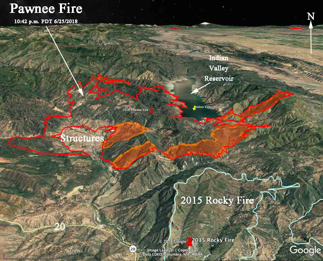 Pawnee Fire in Lake County, California continues to spread east and south.