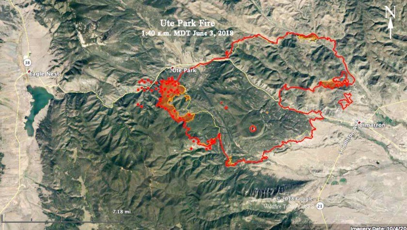 map ute park wildfire fire